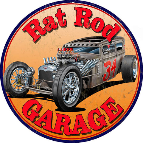 Vintage Rat Rod Garage Sign 14 Round