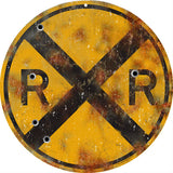 Vintage Railroad Crossing Sign 14 Round