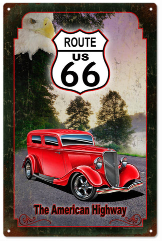 Vintage Route 66 Automobile Sign 16x24