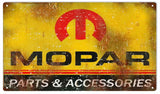 Vintage Mopar Parts Sign 8x14