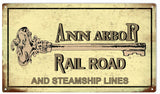 Vintage Ann Arbor Railroad Sign 8x14