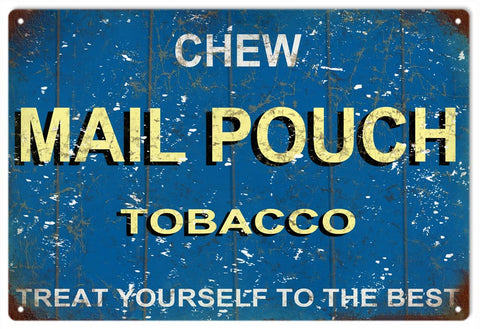 Blue Chew Mail Pouch Tobacco Sign