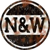 Vintage Norfolk & Western Railroad Sign 14 Round