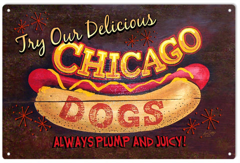 Vintage Chicago Hot Dog Sign