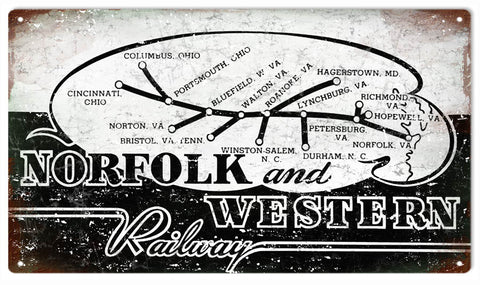 Vintage Norfolk And Western Railway Sign 8x14