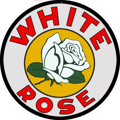 White Rose Motor Oil Sign 18 Round