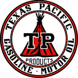 Texas Pacific Gasoline Sign 18 Round