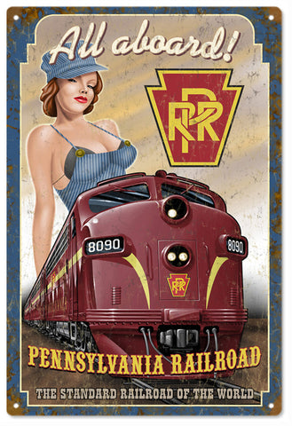 Vintage RPR All Aboard Pin Up Girl Railroad Sign