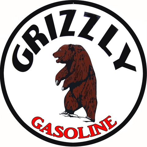 Grizzly Gasoline Sign 14 Round