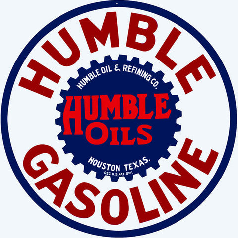 Humble Gasoline Sign 18 Round