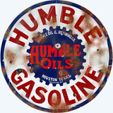 Vintage Humble Gasoline Sign 18 Round