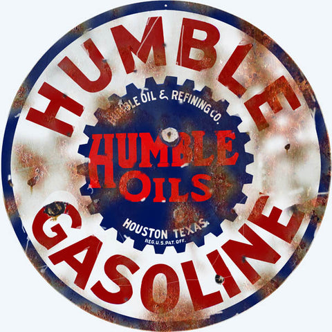 Vintage Humble Gasoline Sign 14 Round