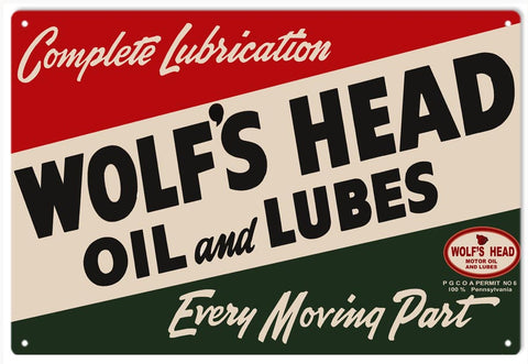 Wolfs Head Oil And Lube Sign