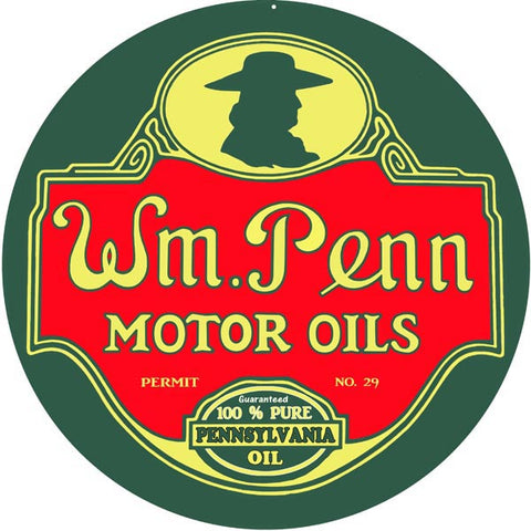 WM Penn Motor Oil Sign 18 Round
