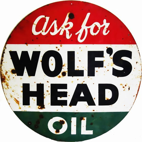 Vintage Wolfs Head Sign 18 Round