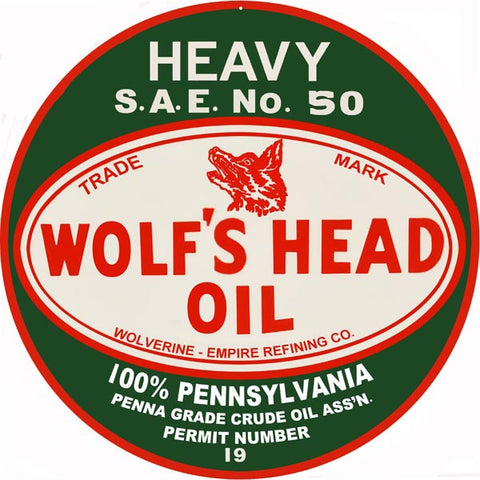 Wolfs Head Oil Sign 18 Round