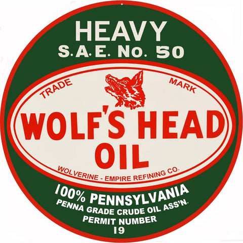 Wolfs Head Oil Sign 14 Round