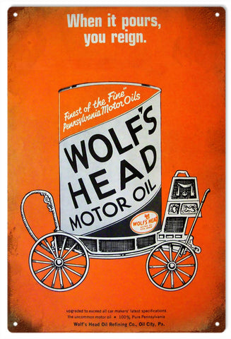 Vintage Wolfs Head Motor Oil Sign