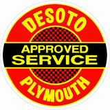 Desoto Plymouth Service Sign 14 Round