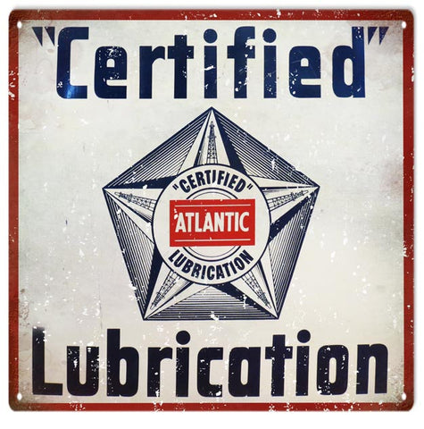 Vintage Atlantic Lubrication Sign 12x12