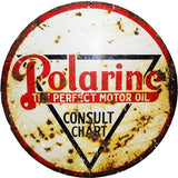 Vintage Polarine Motor Oil Sign 18 Round
