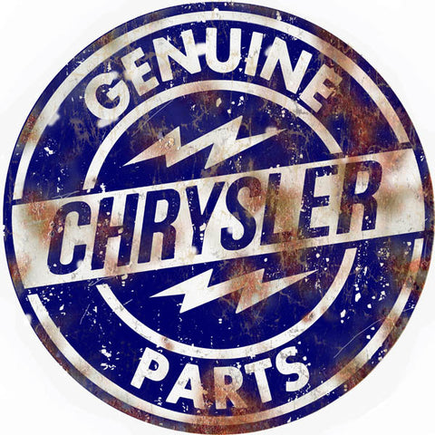 Vintage Chrysler Parts Sign 14 Round