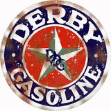 Vintage Derby Gasoline Sign 18 Round