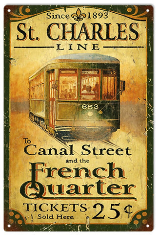 Vintage St.Charles Street Car Sign
