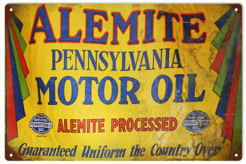 Vintage Alemite Motor Oil Sign