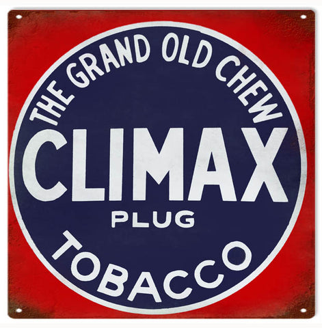 Vintage Climax Tobacco Sign 12x12