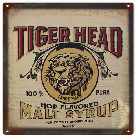 Vintage Tiger Head Syrup Sign 12x12