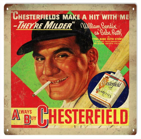 Vintage Chesterfield Cigarette Sign 12x12
