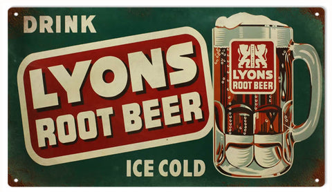 Vintage Lyons Root Beer Sign 8x14