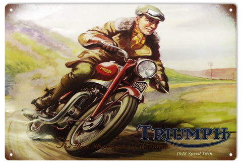 Vintage Triumph 1948 Speed Twin Motorcycle Sign