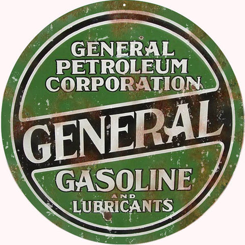 Vintage General Petroleum Sign 18 Round