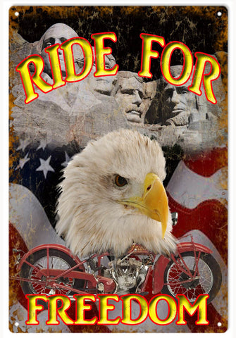 Vintage Ride For Freedom Motorcycle Sign