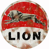 Vintage Lion Motor Oil Sign 18 Round
