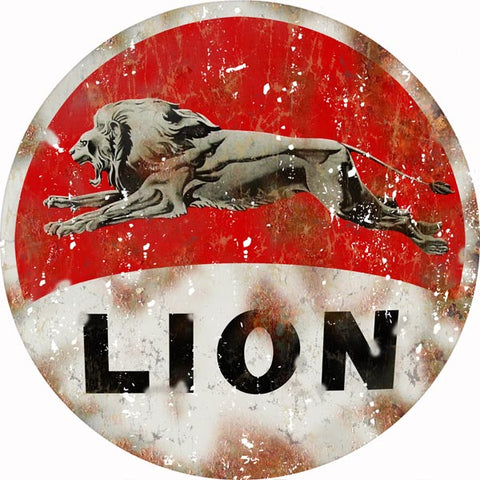 Vintage Lion Motor Oil Sign 14 Round