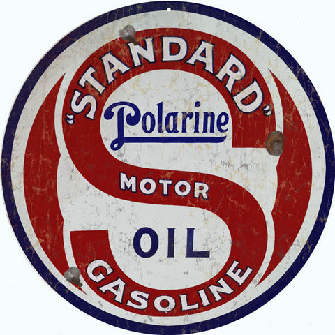 Vintage Polarine Motor Oil Sign 14 Round