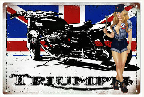 Vintage Triumph Motorcycle Pin Up Girl