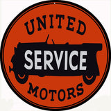 United Service Motors Garage Sign 14 Round