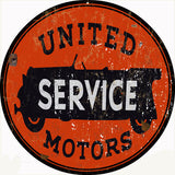 Vintage United Services Motor Sign 14 Round