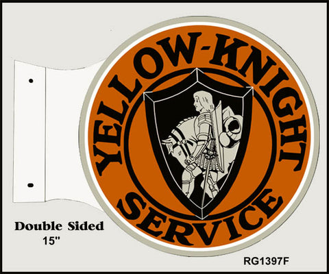 Yellow Knight Service Flange Sign 15x171/2