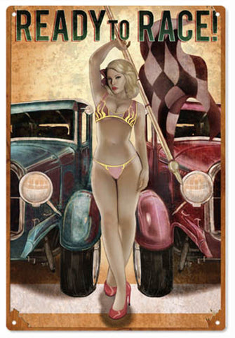 Ready To Race Hot Rod Sign Garage Art