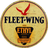 Vintage Fleet Wing Gasoline Sign 14Round