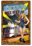 Vintage Railroad Sexy Pin Up Girl Sign