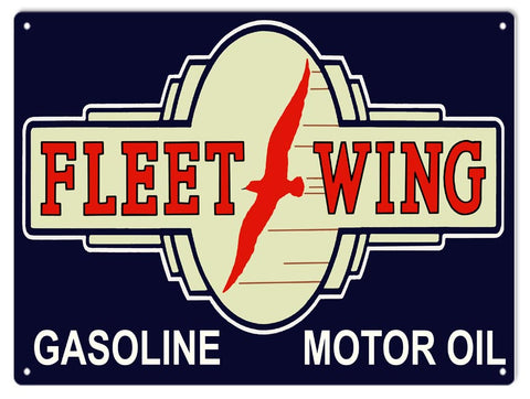 Fleet Wing Motor Oil Sign 9x12
