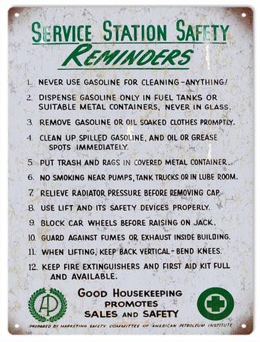 Vintage Service Station Safety Reminders Sign