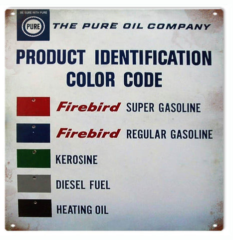 Vintage Pure Oil Company ID Color Code Sign 12x12