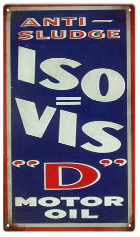 Vintage ISO VIS Motor Oil Sign 8x14